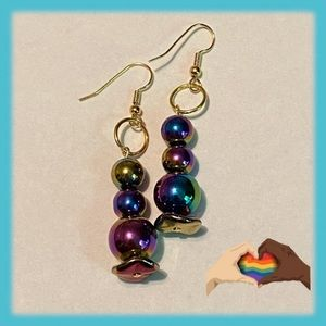 Rainbow Stacked Glass Beads Earrings Pride